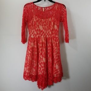 Free People Red Lace A-line Dress Size 0